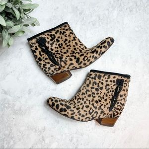 Golden Goose Milk Leopard Print Ankle Booties